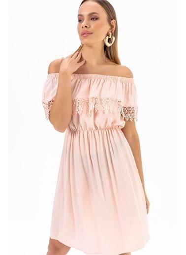 Emjey Yaka Etek Güpürlü Elbise Pudra